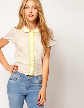 Image 1 ofASOS Blouse With Lace Trims And Embroidery