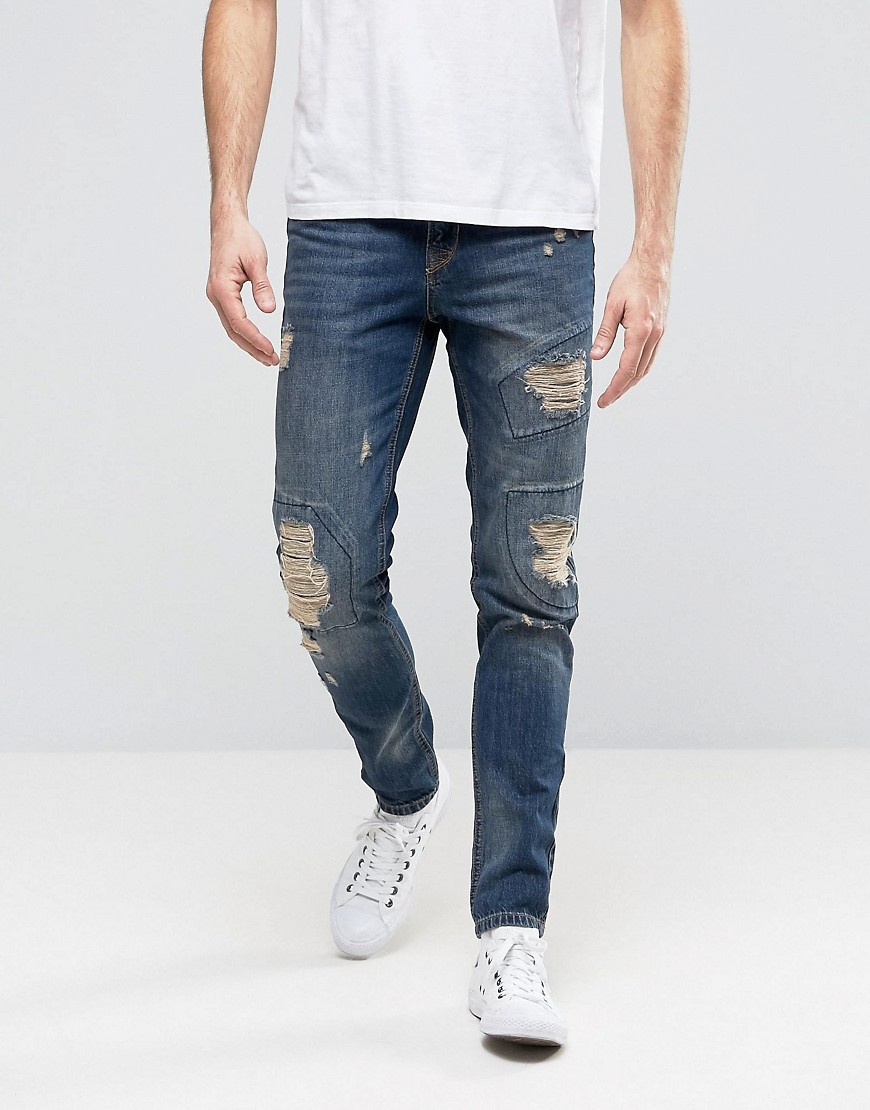 Hoxton Denim Jeans Patch Rip and Repair Patch Yellow Wash Jean - Yellow