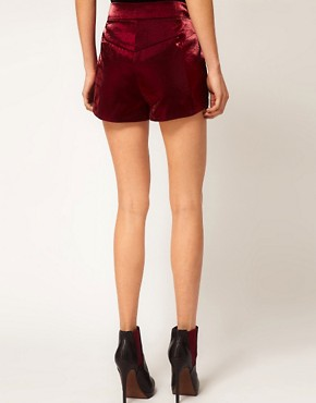 Image 2 ofASOS PETITE Exclusive Shorts With Metallic Sheen