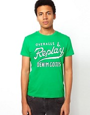 Replay T-Shirt Cracked Logo Print