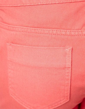 Image 3 ofASOS CURVE Exclusive Denim Short In Strawberry Pink