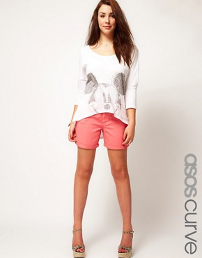 Image 1 ofASOS CURVE Exclusive Denim Short In Strawberry Pink