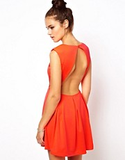 Glamorous Neon Skater Dress with Open Back