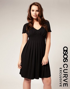 Image 1 ofASOS CURVE Exclusive Jersey Pleat Bust Dress