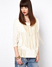 Eleven Paris Knitted Jumper with Suede Fringing and Sheer Back