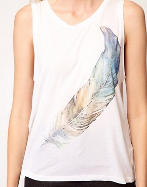 Image 3 of Just Female Feather Print Jersey Vest
