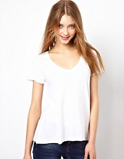 American Vintage Slubby Jersey Tee With V Neck