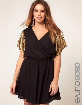 Image 1 of ASOS CURVE Exclusive Playsuit With Sequin Sleeve