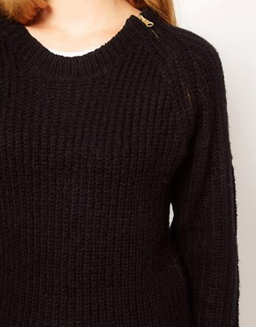 Image 3 ofVila Zip Shoulder Chunky Knit Jumper