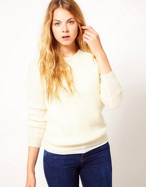 Image 1 ofVila Zip Shoulder Chunky Knit Jumper