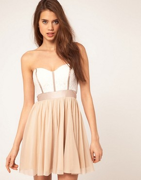 Image 1 of ASOS Skater Dress With Lace Bustier