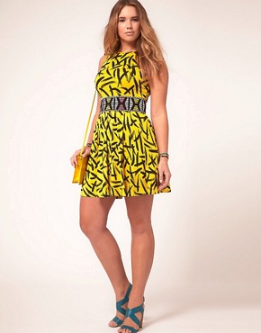 Image 4 ofASOS CURVE Exclusive Skater Dress In Brush Stroke Print