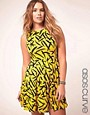 Image 1 ofASOS CURVE Exclusive Skater Dress In Brush Stroke Print