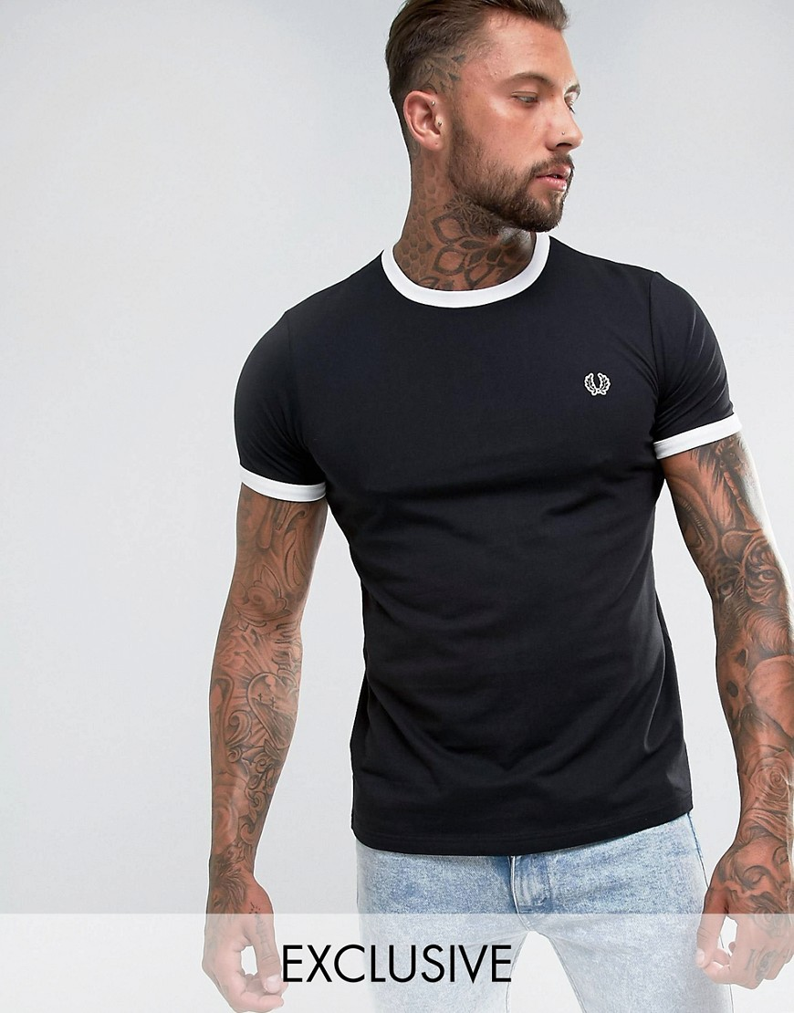 Fred Perry Sports Authentic Slim Fit Ringer T-Shirt In Black - Black