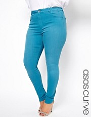 ASOS CURVE - Jeans skinny morbidissimi lavaggio verde-azzurro