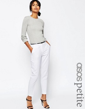 ASOS PETITE Linen Cigarette Trousers with Belt
