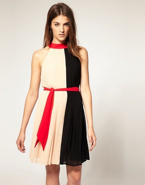 Image 1 ofWarehouse Colourblock Belted Dress