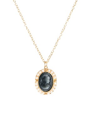 Image 1 of ASOS Pearl Frame Cameo Necklace