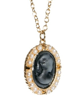 Image 4 of ASOS Pearl Frame Cameo Necklace