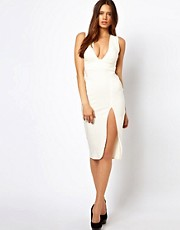 Vesper Midi Dress with Plunge Neck Line and Thigh Split