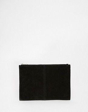 ASOS Suede Zip Top Clutch Bag