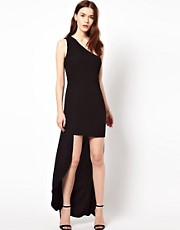 Aryn K One Shoulder Dress With Hi Lo Hem