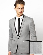ASOS Skinny Fit Suit Jacket in Herringbone