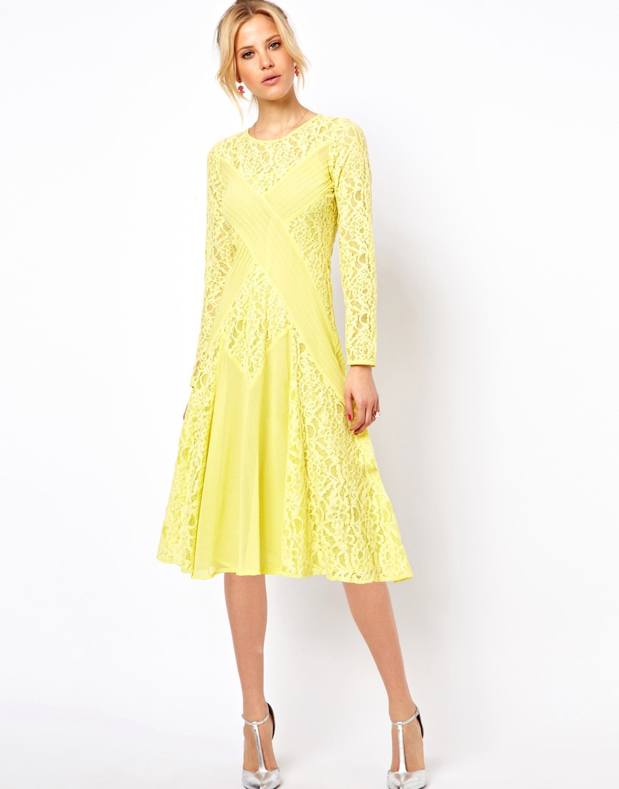 Image 4 of ASOS PETITE Exclusive Midi Dress with Lace