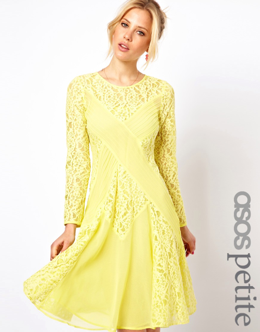 Image 1 of ASOS PETITE Exclusive Midi Dress with Lace