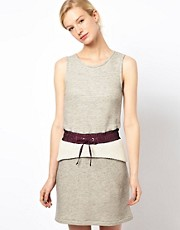 White Tent Exclusive to ASOS Sweat Dress with Peplum and Panelling Detail