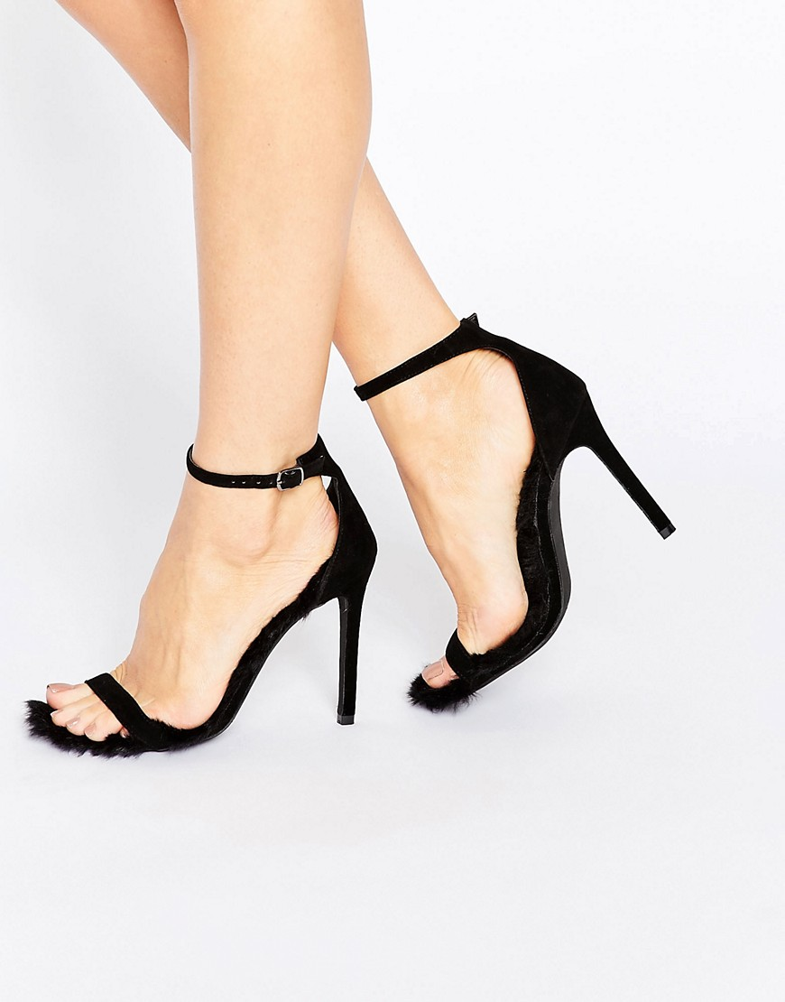 Public Desire Diana Furry Barely There Heeled Sandals - Black