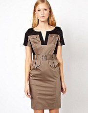 Karen Millen Colour Block Cotton Dress with Detachable Belt