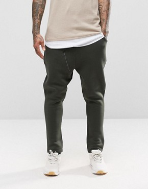 ASOS Drop Crotch Joggers With Biker Zip Detail In Khaki