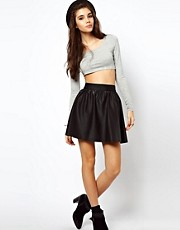 ASOS Skater Skirt In Wet Look