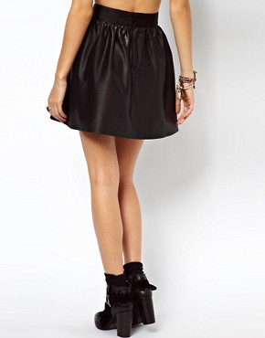 Image 2 ofASOS Skater Skirt In Wet Look