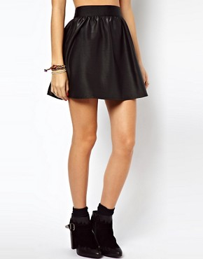 Image 4 ofASOS Skater Skirt In Wet Look