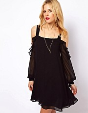 ASOS Cut Out Shoulder Dress With Ruffles