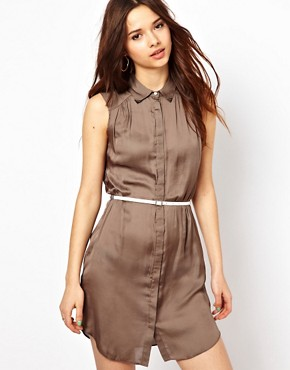 Image 1 ofRiver Island Washed Satin Shirt Dress