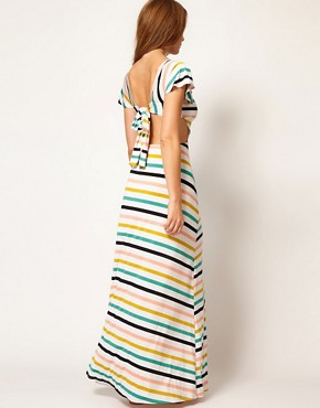 Image 2 of Nookie Beach Club House Stripe Cut Out Beach Maxi Dress