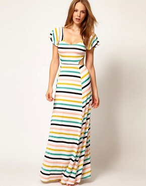 Image 4 of Nookie Beach Club House Stripe Cut Out Beach Maxi Dress