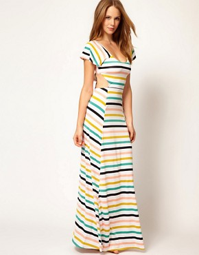 Image 1 of Nookie Beach Club House Stripe Cut Out Beach Maxi Dress
