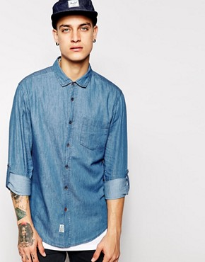 Threadbare Long Sleeve Washed Denim Shirt
