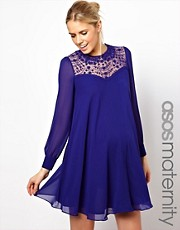 ASOS Maternity Swing Dress With Lace Insert And Peter Pan Collar