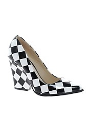 ALDO Georgen Black/White Block Heeled Pointed Court Shoes
