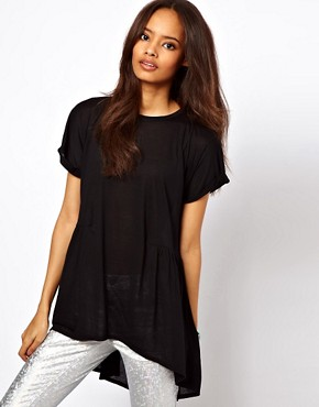Image 1 ofASOS Oversized Lightweight Frill Hem T-Shirt