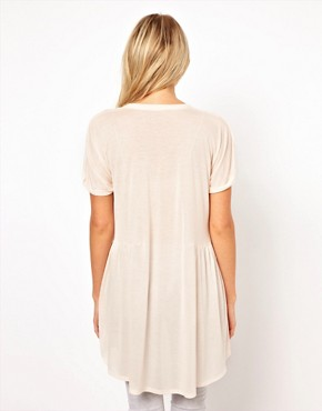 Image 2 ofASOS Oversized Lightweight Frill Hem T-Shirt