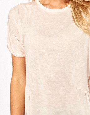 Image 3 ofASOS Oversized Lightweight Frill Hem T-Shirt