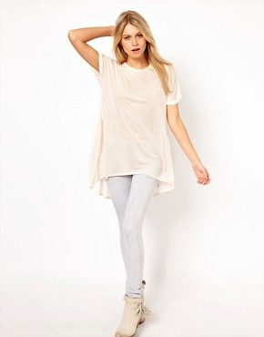Image 4 ofASOS Oversized Lightweight Frill Hem T-Shirt