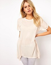 ASOS Oversized Lightweight Frill Hem T-Shirt