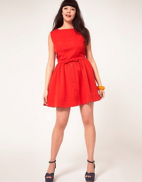 Image 4 ofASOS CURVE Skater Dress With Bow Front